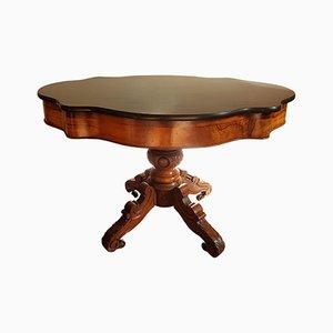 Table Ovale Antique en Noyer et Plateau en Marbre Noir