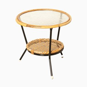 Vintage Rattan side Table by Rohé Noordwolde