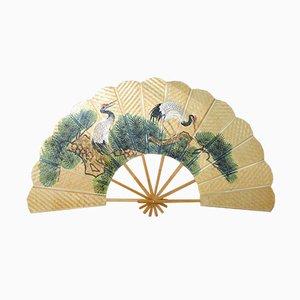 Wicker & Bamboo Hand-Painted Fan, 1970s