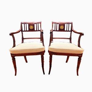 Empire Armlehnstühle aus massivem Mahagoni, 1830er, 2er Set