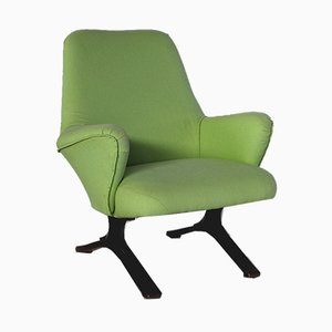 Mid-Century Italian Green Lounge Chair from Tecno