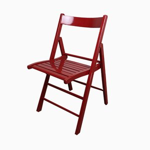 Roter Vintage Klappstuhl aus Holz
