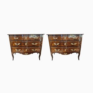 Italian Inlaid Walnut & Bronze Chests of Drawers, 1850s, Set of 2