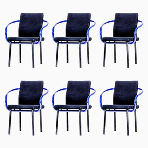 Purple & Black Mandarin Chairs by Ettore Sottsass, 1986, Set of 6