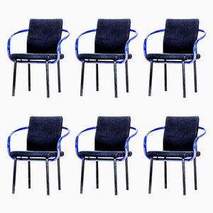 Violett-schwarze Mandarin Stühle von Ettore Sottsass, 1986, 6er Set