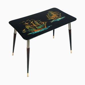 Tavolino da caffè laccato con vele stampate di Piero Fornasetti, anni '50