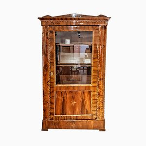 Antique Louis Felipe Walnut & Palm Wood Vitrine, 1850s