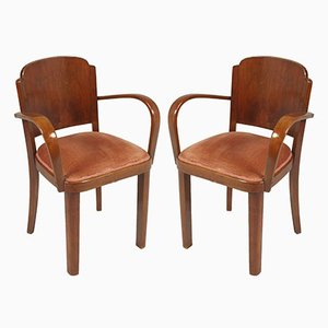 Italian Walnut & Velvet Bridge Chairs by Gaetano Borsani, 1930s, Set of 2