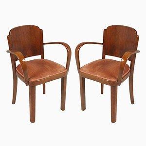 Italienische Bridge Stühle mit Gestell aus Nussholz & Sitz mit Samtbezug von Gaetano Borsani, 1930er, 2er Set