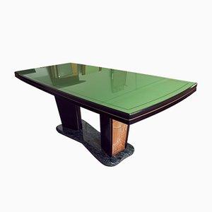 Tavolo da pranzo in palissandro con ripiano verde di Vittorio Dassi per Dassi, Italia, 1955