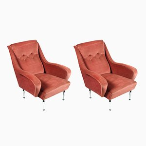 Italian Velvet Lounge Chairs by Paolo Buffa, 1950s, Set of 2
