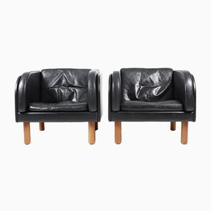 Vintage Danish Patinated Leather Lounge Chairs by Jørgen Gammelgaard for Erik Jørgensen, Set of 2