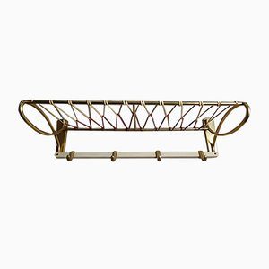 Vintage Red & Brass Wall Coat Rack, 1950s