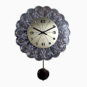 Reloj de pared vintage de vidrio y latón de Junghans, años 60
