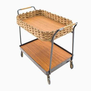 Rattan & Iron Serving Trolley, 1960s