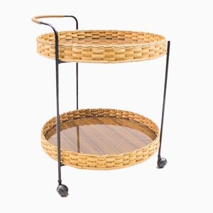 Rattan & String Serving Trolley, 1960s