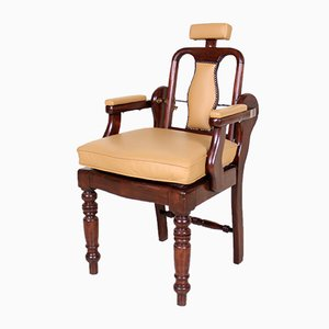 Antique Tan Carved Mahogany Barber Chair