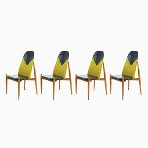 Esszimmerstühle mit hoher Lehne & Gestell aus Teak, 1970er, 4er Set