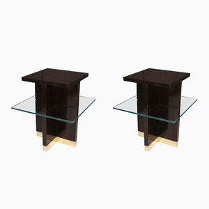 Mid-Century Square Macassar Brass and Glass Italian Side Tables, 1950, Set of 2