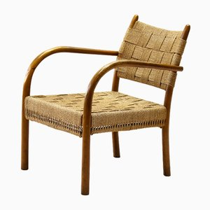 Vintage Beech & Woven Paper Cord Armchair by K. Scröder for Fritz Hansen