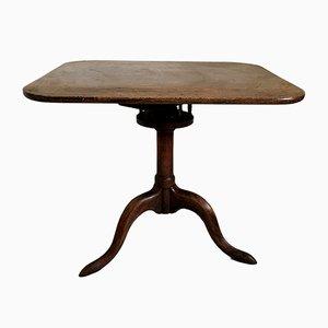 Antiker Säulentisch aus Nussholz