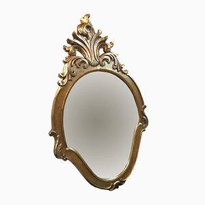 Spiegel mit goldenem Holzrahmen, 1950er