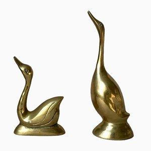 Figuras de pájaro alemanas vintage de latón, Juego de 2