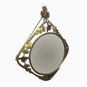 Specchio in metallo e oro, anni '60