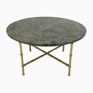 Mesa de centro grande de mármol y falso bambú de latón, años 60