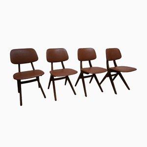 Chaises Vintage par Louis van Teeffelen pour WéBé, 1950s, Set de 4