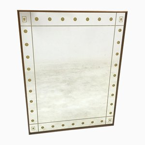 Italian Walnut Framed Mirror with Gold Spots, 1950s