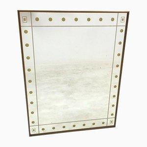 Italienischer Spiegel mit Rahmen aus Nussholz & goldenen Punkten, 1950er