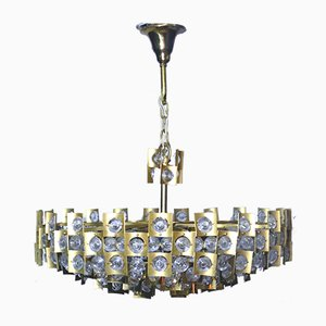 Large Mid-Century Brutalist Gilt Brass & Crystal Chandelier from Palwa, 1960s