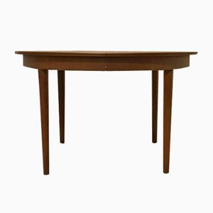 Round Teak Extendable Dining Table, 1960s