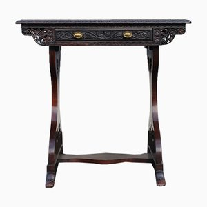 Antique Padouk Wood Table with Drawer, 1905
