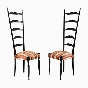 Italienische Mid-Century Beistellstühle mit hoher Rückenlehne von Paulo Buffa, 2er Set