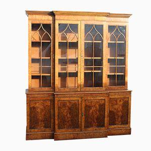 Mid-Century Breakfront Burr Ash 4 Door Bookcase, 1960s