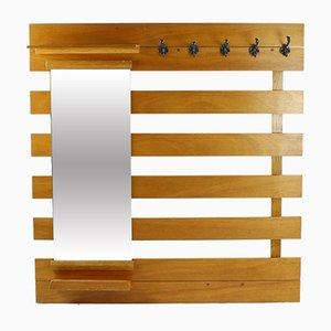 Mueble de recibidor Mid-Century de madera con espejo y estantes
