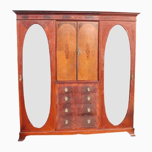 Antique Mahogany Mirrored 3 Door Wardrobe, 1905