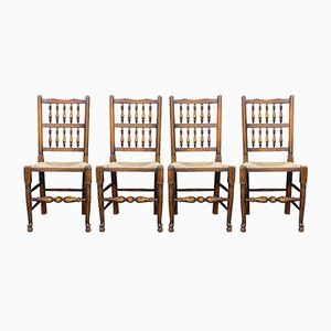 Oak Spindle Back Dining Chairs, 1930s, Set of 4