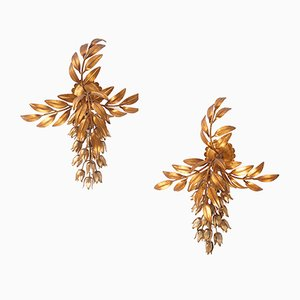 Gilded Metal Wall Sconces by Hans Kögl, Set of 2