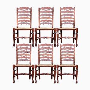 Esszimmerstühle aus Nussholz mit Leiterlehne, 1960er, 6er Set