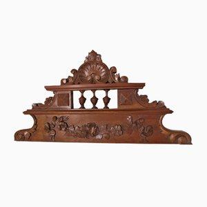 Frontone antico in legno di noce massiccio, anni '10