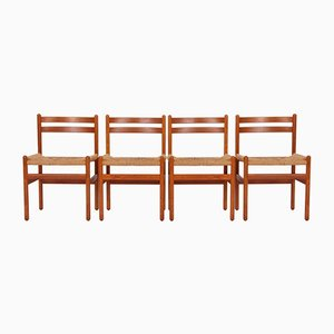 Teak and Paper Wicker Danish Dining Chairs, 1970s, Set of 4