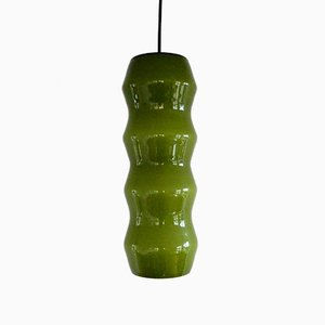 Lámpara colgante italiana de vidrio verde, años 60