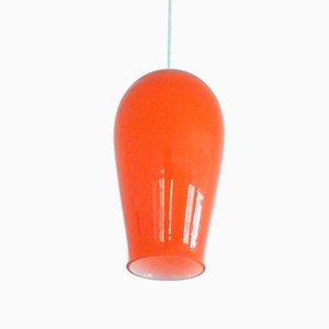 Lámpara colgante vintage grande de vidrio naranja, años 60