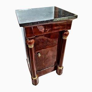 Tavolino in mogano, bronzo e marmo, Francia, inizio XIX secolo