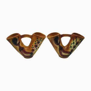 Ceramic Vases with Double Necks from Accolay, 1950s, Set of 2