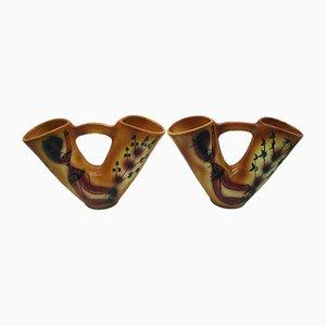 Jarrones de cerámica con dos cuellos de Accolay, años 50. Juego de 2