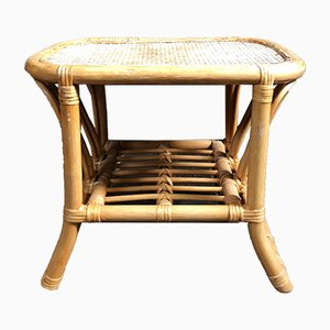 Vintage Wicker Rattan Bamboo Side Table, 1980s